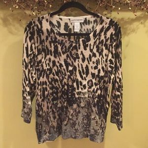 Animal print and bling light sweater like new